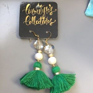 Boutique tassel earrings green paid $50 NWT